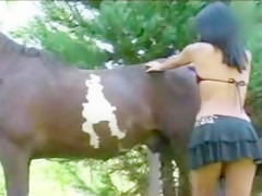Black cock and horse shared blonde duo - Sexo con Animales